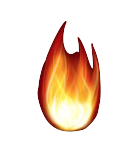 flame on whte
